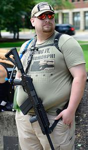 Matt Shermer of Ravenna on Ely Sqaure in support of second amendment gun rights June 23. STEVE MANHEIM / CHRONICLE