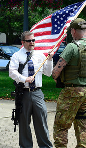 Grant Oesch of Alliance on Ely Sqaure in support of second amendment gun rights June 23. STEVE MANHEIM / CHRONICLE