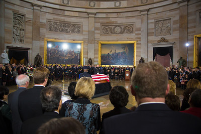 Senator Daniel Inouye's body lies in state at the U.S. Capitol Rotunda in Washington D.C. on Thursday, Dec. 20, 2012. There, his colleagues and members of the public pay respects to the Senate's second-longest serving member in a special ceremony.  The Democrat from Hawaii was a Medal of Honor recipient for valor in World War II. He died Monday from respiratory ailments at age 88. Lying in state is an honor typically reserved for presidents, bestowed only 31 times since the 1800s. According to tradition, Inouye's casket sat underneath the Capitol dome, atop the Lincoln catafalque, the platform built in 1865 to support Abraham Lincoln's casket when that president's body lay in state.  (Photo by Jeff Malet)