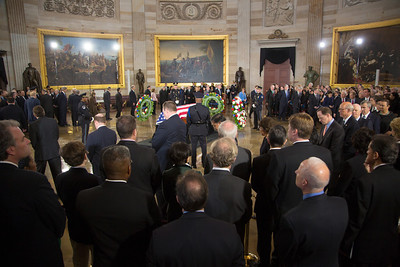 Members of the United States Capitol Police stand guard as Senator Daniel Inouye lies in state in the U.S. Capitol Rotunda in Washington D.C. on Thursday, Dec. 20, 2012. There, his colleagues and members of the public will pay their respects to the Senate's second-longest serving member. The Democrat from Hawaii was a Medal of Honor recipient for valor in World War II. He died Monday from respiratory ailments at age 88. Lying in state is an honor typically reserved for presidents, bestowed only 31 times since the 1800s. According to tradition, Draped in the American Flag, Inouye's casket sat underneath the Capitol dome, atop the Lincoln catafalque, the platform built in 1865 to support Abraham Lincoln's casket when that president's body lay in state.  (Photo by Jeff Malet)