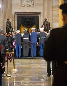 Senator Daniel Inouye's body and casket is transported by military honor guard to the U.S. Capitol Rotunda in Washington D.C. where it will lie in state on Thursday, Dec. 20, 2012. There, his colleagues and members of the public will pay their respects to the Senate's second-longest serving member.  The Democrat from Hawaii was a Medal of Honor recipient for valor in World War II. He died Monday from respiratory ailments at age 88.  (Photo by Jeff Malet)