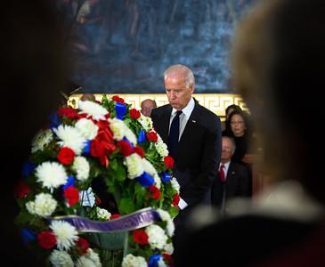 Vice President Joe Biden stands before the casket of the late Senator Daniel Inouye. Members of the United States Capitol Police stand guard as Senator Inouye lies in state in the U.S. Capitol Rotunda in Washington D.C. on Thursday, Dec. 20, 2012. There, his colleagues and members of the public will pay their respects to the Senate's second-longest serving member. The Democrat from Hawaii was a Medal of Honor recipient for valor in World War II. He died Monday from respiratory ailments at age 88. Lying in state is an honor typically reserved for presidents, bestowed only 31 times since the 1800s. According to tradition, Inouye's casket sat underneath the Capitol dome, atop the Lincoln catafalque, the platform built in 1865 to support Abraham Lincoln's casket when that president's body lay in state.  (Photo by Jeff Malet)