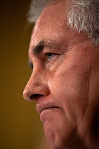 A frowning Rex Tillerson, Chairman and Chief Executive Officer, Exxon Mobil Corporation, is unhappy with Senators line of questioning. The heads of five of the largest oil and gas companies in the world testified before the Senate Finance Committee on May 12, 2011 on Capitol Hill in Washington DC, arguing that ending tax incentives would reduce exploration, eliminate jobs and stifle economic growth while doing nothing to reduce fuel prices. Participating were executive officers of Exxon, BP America, Shell, ConocoPhillips and Chevron. (Photo by Jeff Malet)