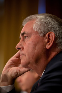 A serious Rex Tillerson, Chairman and Chief Executive Officer, Exxon Mobil Corporation, sits pensively. The heads of five of the largest oil and gas companies in the world testified before the Senate Finance Committee on May 12, 2011 on Capitol Hill in Washington DC, arguing that ending tax incentives would reduce exploration, eliminate jobs and stifle economic growth while doing nothing to reduce fuel prices. Participating were executive officers of Exxon, BP America, Shell, ConocoPhillips and Chevron. (Photo by Jeff Malet)