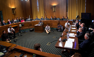The heads of five of the largest oil and gas companies in the world testified before the Senate Finance Committee on May 12, 2011 on Capitol Hill in Washington DC, arguing that ending tax incentives would eliminate jobs and stifle economic growth while doing nothing to reduce fuel prices. In photo, seated top to bottom at the witness table - John Watson, Chairman of the Board and Chief Executive Officer, Chevron Corporation; Marvin Odum, U.S. President, Shell Oil Company; H. Lamar McKay, Chairman and President, BP America Inc.; James Mulva, Chairman and Chief Executive Officer, ConocoPhillips; and Rex Tillerson, Chairman and Chief Executive Officer, Exxon Mobil Corporation. (Photo by Jeff Malet)
