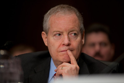 """James Mulva, Chairman and Chief Executive Officer, ConocoPhillips listens to Senator's question. Sens. Chuck Schumer (D-NY) and Robert Menendez (D-NJ) both took offense to a ConocoPhillips press release that said the Democrats plan to repeal $21 billion in tax incentives is """"un-American"""". The heads of five of the largest oil and gas companies in the world testified before the Senate Finance Committee on May 12, 2011 on Capitol Hill in Washington DC, arguing that ending tax incentives would reduce exploration, eliminate jobs and stifle economic growth while doing nothing to reduce fuel prices. Participating were executive officers of Exxon, BP America, Shell, ConocoPhillips and Chevron.  (Photo by Jeff Malet)"""