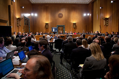 The heads of five of the largest oil and gas companies in the world testified before the Senate Finance Committee on May 12, 2011 on Capitol Hill in Washington DC, arguing that ending tax incentives would reduce exploration, eliminate jobs and stifle economic growth while doing nothing to reduce fuel prices. Participating were executive officers of Exxon, BP America, Shell, ConocoPhillips and Chevron. (Photo by Jeff Malet)