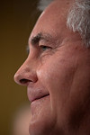 A smiling Rex Tillerson, Chairman and Chief Executive Officer, Exxon Mobil Corporation, listens to Senators questions. The heads of five of the largest oil and gas companies in the world tes ...