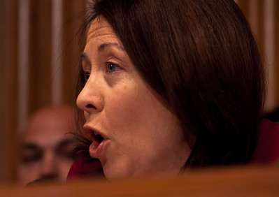 Senator Maria Cantwell (D-WA) questions the heads of five of the largest oil and gas companies in the world, who appeared before the Senate Finance Committee on May 12, 2011 on Capitol Hill in Washington DC. The execs argued that ending tax incentives would reduce exploration, eliminate jobs and stifle economic growth while doing nothing to reduce fuel prices. Participating were executive officers of Exxon, BP America, Shell, ConocoPhillips and Chevron. (Photo by Jeff Malet)