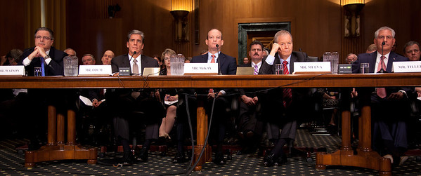 The heads of five of the largest oil and gas companies in the world testified before the Senate Finance Committee on May 12, 2011 on Capitol Hill in Washington DC, arguing that ending tax incentives would eliminate jobs and stifle economic growth while doing nothing to reduce fuel prices. Seated left to right at the witness table - John Watson, Chairman of the Board and Chief Executive Officer, Chevron Corporation; Marvin Odum, U.S. President, Shell Oil Company; H. Lamar McKay, Chairman and President, BP America Inc.; James Mulva, Chairman and Chief Executive Officer, ConocoPhillips; and Rex Tillerson, Chairman and Chief Executive Officer, Exxon Mobil Corporation. (Photo by Jeff Malet)