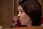 Senator Maria Cantwell (D-WA) questions the heads of five of the largest oil and gas companies in the world, who appeared before the Senate Finance Committee on May 12, 2011 on Capitol Hill  ...