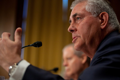 Rex Tillerson, Chairman and Chief Executive Officer, Exxon Mobil Corporation, gives testimony. The heads of five of the largest oil and gas companies in the world testified before the Senate Finance Committee on May 12, 2011 on Capitol Hill in Washington DC, arguing that ending tax incentives would reduce exploration, eliminate jobs and stifle economic growth while doing nothing to reduce fuel prices. Participating were executive officers of Exxon, BP America, Shell, ConocoPhillips and Chevron. (Photo by Jeff Malet)
