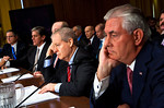 A tired looking Rex Tillerson, Chairman and Chief Executive Officer, Exxon Mobil Corporation, rests his head. The heads of five of the largest oil and gas companies in the world testified be ...