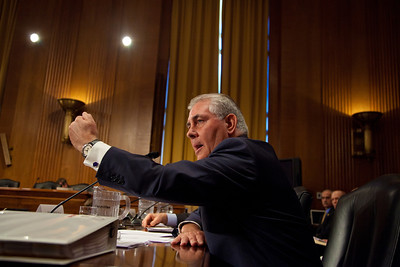 Rex Tillerson, Chairman and Chief Executive Officer, Exxon Mobil Corporation, gives vigorous testimony. The heads of five of the largest oil and gas companies in the world testified before the Senate Finance Committee on May 12, 2011 on Capitol Hill in Washington DC, arguing that ending tax incentives would reduce exploration, eliminate jobs and stifle economic growth while doing nothing to reduce fuel prices. Participating were executive officers of Exxon, BP America, Shell, ConocoPhillips and Chevron. (Photo by Jeff Malet)