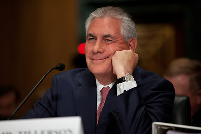A smiling Rex Tillerson, Chairman and Chief Executive Officer, Exxon Mobil Corporation, listens to Senators questions. The heads of five of the largest oil and gas companies in the world testified before the Senate Finance Committee on May 12, 2011 on Capitol Hill in Washington DC, arguing that ending tax incentives would reduce exploration, eliminate jobs and stifle economic growth while doing nothing to reduce fuel prices. Participating were executive officers of Exxon, BP America, Shell, ConocoPhillips and Chevron. (Photo by Jeff Malet)