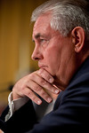 A serious Rex Tillerson, Chairman and Chief Executive Officer, Exxon Mobil Corporation, sits pensively. The heads of five of the largest oil and gas companies in the world testified before t ...