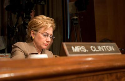 Senator Hillary Clinton prepares for senate hearings on prisoner abuse at Abu Ghraib