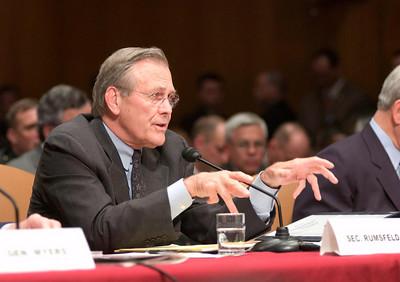 Defense Secretary Donald Rumsfeld gives testimony during senate hearings on prisoner abuse at Abu Ghraib