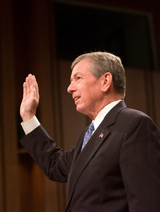 Attorney General John Ashcroft take the oath at the Senate Hearings on the 911 disaster