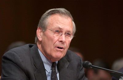 Defense Secretary Donald Rumsfeld gives testimony during senate hearings on prisoner abuse at Abu Ghraib