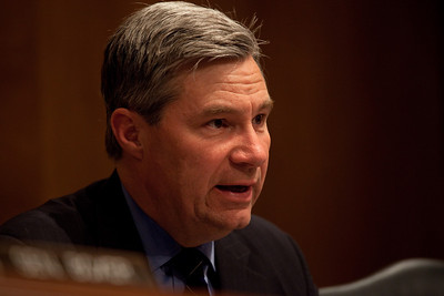 "Sheldon Whitehouse (D-RI)  hears testimony as oil executives appear before the Senate Committee on Environment and Public Works hearing, ""Economic and Environmental Impacts of the Recent Oil Spill in the Gulf of Mexico"" on Capitol Hill in Washington DC, Tuesday, May 11, 2010. Boxer is chairwoman of the Committee. (Photo by Jeff Malet)"