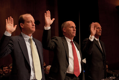 BP America's chairman, Lamar McKay, Transocean CEO Steven Newman and Tim Probert., President, Halliburton Global Business Lines are sworn in before the U.S. Senate Committee on Environment and Public Works investigating the recent oil spill in the Gulf of Mexico on Capitol Hill in Washington DC, Tuesday, May 11, 2010 (Photo by Jeff Malet)