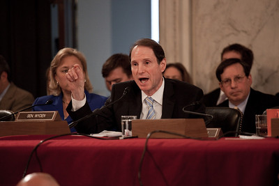 Sen. Ron Wyden (D-OR) hears testimony as oil executives appear before the U.S. Senate Committee on Energy and Natural Resources investigating the recent spill in the Gulf of Mexico . On Capitol Hill in Washington DC, Tuesday, May 11, 2010 (Photo by Jeff Malet)