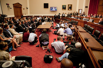 Tony Hayword, BP's CEO, sat impassively before press photographers as a members of Congress accused him of being oblivious to the risks of his company's deep water operations. Hayward testified before the House Energy and Commerce Subcommittee on Oversight and Investigations on Capitol Hill in Washington DC, Thursday, June 17, 2010. (Photo by Jeff Malet)