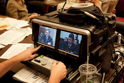 Cameras monitor Tony Hayword, BP's CEO, as he sat impassively as members of Congress accused him of being oblivious to the risks of his company's deep water operations. Hayward testified before the House Energy and Commerce Subcommittee on Oversight and Investigations on Capitol Hill in Washington DC, Thursday, June 17, 2010. (Photo by Jeff Malet)