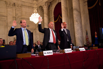 BP America's chairman, Lamar McKay, Transocean CEO Steven Newman and Tim Probert., President, Halliburton Global Business Lines are sworn in before the U.S. Senate Committee on Energy and Natural Resources investigating the recent oil spill in the Gulf of Mexico . On Capitol Hill in Washington DC, Tuesday, May 11, 2010 (Photo by Jeff Malet)