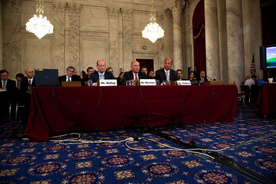 BP America's chairman, Lamar McKay, Transocean CEO Steven Newman and Tim Probert., President, Halliburton Global Business Lines testify before the U.S. Senate Committee on Energy and Natural Resources investigating the recent oil spill in the Gulf of Mexico . On Capitol Hill in Washington DC, Tuesday, May 11, 2010 (Photo by Jeff Malet)