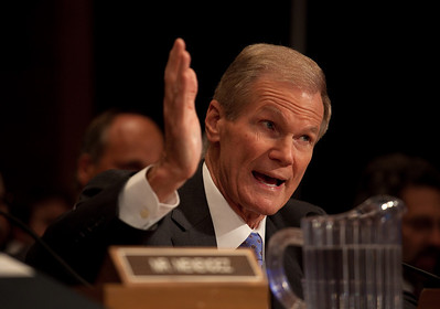 "Sen. Bill Nelson (D-FL) testifies before the Senate Committee on Environment and Public Works hearing, ""Economic and Environmental Impacts of the Recent Oil Spill in the Gulf of Mexico"" on Capitol Hill in Washington DC, Tuesday, May 11, 2010. Senators from Coastal areas were asked to provide testimony. (Photo by Jeff Malet)"