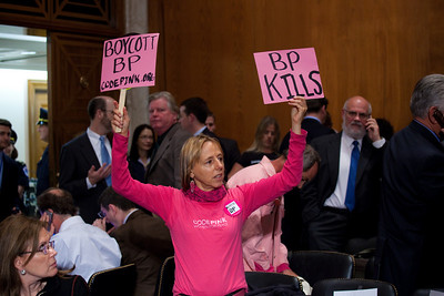 Code Pink protest against British Petroleum during oil executives testimony before the U.S. Senate Committee on Environment and Public Works investigating the recent oil spill in the Gulf of Mexico on Capitol Hill in Washington DC, Tuesday, May 11, 2010 (Photo by Jeff Malet)