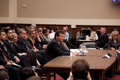 Tony Hayword, BP's CEO, sat impassively as a members of Congress accused him of being oblivious to the risks of his company's deep water operations. Hayward testified before the House Energy and Commerce Subcommittee on Oversight and Investigations on Capitol Hill in Washington DC, Thursday, June 17, 2010. (Photo by Jeff Malet)