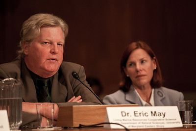 Dr. Eric May, Distinguished Research Scientist, Living Marine Resources Cooperative Science Center, Department of Natural Sciences  University of Maryland Eastern Shore, testifies before the U.S. Senate Committee on Environment and Public Works investigating the recent oil spill in the Gulf of Mexico on Capitol Hill in Washington DC, Tuesday, May 11, 2010 (Photo by Jeff Malet)