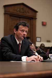 Tony Hayword, BP's CEO, sat impassively as members of Congress accused him of being oblivious to the risks of his company's deep water operations. Hayward testified before the House Energy and Commerce Subcommittee on Oversight and Investigations on Capitol Hill in Washington DC, Thursday, June 17, 2010. (Photo by Jeff Malet)