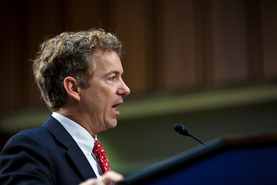 Senator Rand Paul (R-KY) speaks at the first meeting of the Senate Tea Party Caucus on Thursday January 27, 2011 on Capitol Hill in Washington DC. (Photo by Jeff Malet)