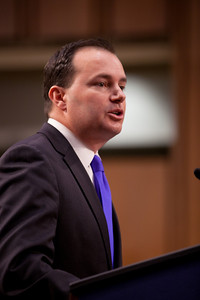 Senator Mike Lee (R-UT) speaks at the first meeting of the Senate Tea Party Caucus on Thursday January 27, 2011 on Capitol Hill in Washington DC. (Photo by Jeff Malet)