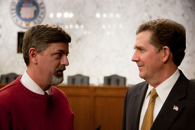 Senator Jim DeMint (R-SC) attends the first meeting of the Senate Tea Party Caucus on Thursday January 27, 2011 on Capitol Hill in Washington DC. Here DeMint talks to Daren Gardner of the Chester (VA) Patriot Group. (Photo by Jeff Malet)