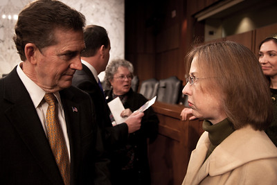 Senator Jim DeMint (R-SC)  attends the first meeting of the Senate Tea Party Caucus on Thursday January 27, 2011 on Capitol Hill in Washington DC. Here DeMint talks to Sheila Nugent of Alexandria VA. (Photo by Jeff Malet)