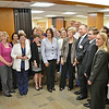 State Senator Jennifer Flanagan, Senator Elizabeth Warren, Winfield Brown, President and CEO and State Representative Jon Zlotnik (center) pose for a photo with hospital employees during a tour of Heywood Hospital in Gardner on Thursday afternoon. SENTINEL & ENTERPRISE / Ashley Green