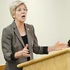 Senator Elizabeth Warren spoke to a crowd during a tour of Heywood Hospital in Gardner on Thursday afternoon. SENTINEL & ENTERPRISE / Ashley Green