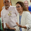 Michele Parker , a family doctor and member of the Board of Trustees, asks a question to Senator Elizabeth Warren during a tour of Heywood Hospital in Gardner on Thursday afternoon. SENTINEL & ENTERPRISE / Ashley Green