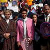 Elected officials standing in defense of the seniors. Left to right: Senator Velmenette Montgomery, Congresswoman Yvette Clarke, and Senator Eric Adams.