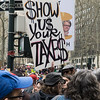 "The main point of today's Tax Day protest: demand that Trump show the American people what he's been hiding from t hem. ""Show us your taxes!"" echoed through the streets surrounding Bryant Park."