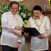 "In this Nov. 8, 2010 photo released by Malacanang Palace, Philippine President Benigno Aquino III, left, confers the Grand Collar of the Order of the Golden Heart to actor-comedian Rodolfo Vera Quizon Sr. at the Rizal Ceremonial Hall in Malacanang Palace in Manila, Philippines in recognition of the actor's contributions to the country's entertainment industry as its ""King of Comedy"" and of his charitable works such as providing scholarships to deserving children of migrant workers. The Philippines' ""King of Comedy,"" the performer fondly called Dolphy by generations of Filipinos died late Monday July 10, 2012 at Makati Medical Center of multiple organ failure and complications from pneumonia, according to an email from the hospital where he had been treated. He was 83. (AP Photo/Malacanang Palace, Ryan Lim) EDITORIAL USE ONLY, NO SALES"