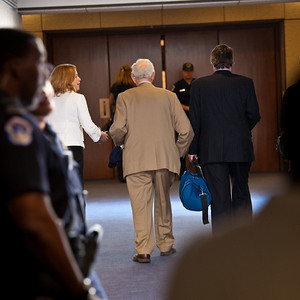Robert Morgenthau, District Attorney, New York County, New York seen about to enter the committee room (Hart Senate Office Bldg, 2nd floor)