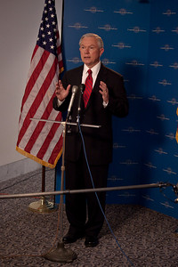 Sen. Jeff Sessions (AL) steps out to give a statement and answer questions
