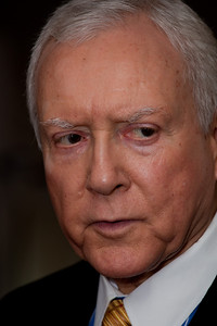 Sen. Orrin Hatch (UT) talks to reporters during a break