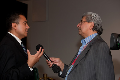 Román D. Hernández, president-elect of the Hispanic National Bar Association (HNBA). is interviewed by Pablo Sanchez of the Univision Television Network